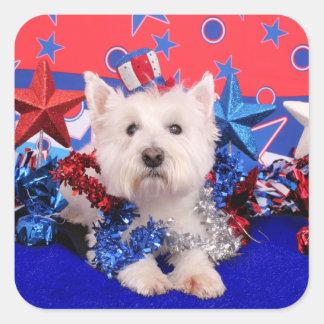 July 4th - Westie - Polo Square Sticker