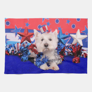 July 4th - Westie - Polo Kitchen Towels