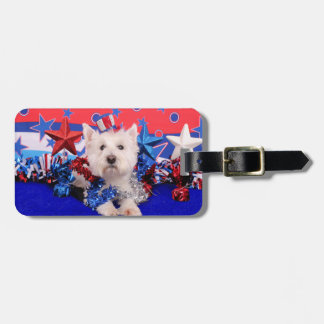 July 4th - Westie - Polo Travel Bag Tag