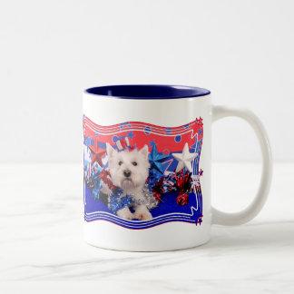 July 4th - Westie - Polo Two-Tone Mug