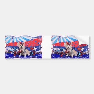 July 4th - Westie X - Lady Car Bumper Sticker