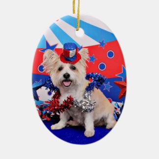 July 4th - Westie X - Lady Christmas Tree Ornaments
