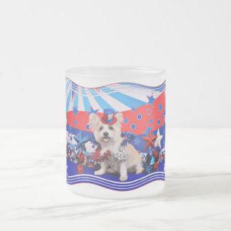 July 4th - Westie X - Lady Frosted Glass Mug