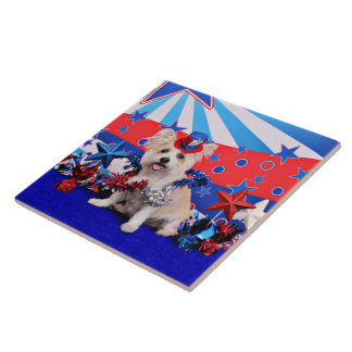 July 4th - Westie X - Lady Large Square Tile