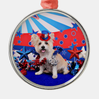 July 4th - Westie X - Lady Silver-Colored Round Decoration