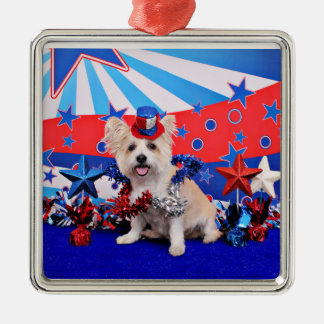 July 4th - Westie X - Lady Silver-Colored Square Decoration