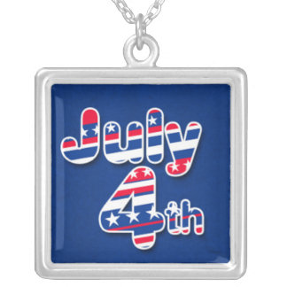 July 4th with Stars and Stripes Square Pendant Necklace