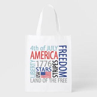 July 4th reusable grocery bag