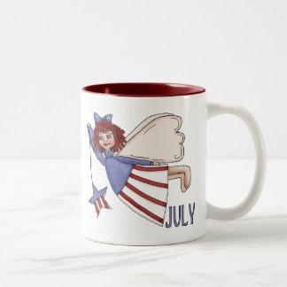 July Angel Summer Patriotic Design Coffee Mugs