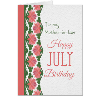 July Birthday Card for Mother-in-law, Water Lilies