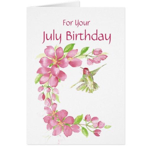July Birthday Cherry Blossom & Hummingbird Greeting Cards