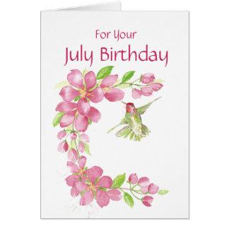 July Birthday Cherry Blossom & Hummingbird Greeting Card