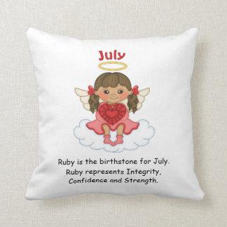 July Birthstone Angel Brunette Cushions