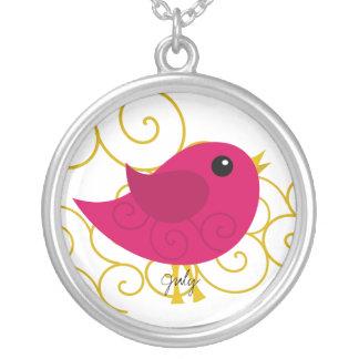 July Birthstone Bird Round Pendant Necklace