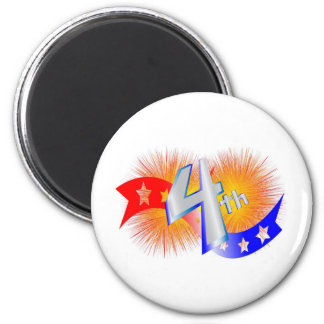 july forth 6 cm round magnet