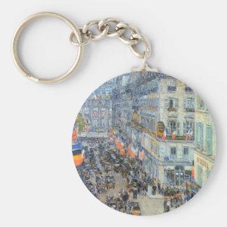 July Fourteenth, Rue Daunou by Childe Hassam Basic Round Button Key Ring
