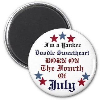 JULY FOURTH BIRTHDAY BUTTON 6 CM ROUND MAGNET
