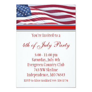 "July Fourth or Campaign Party Invitation 5"" X 7"" Invitation Card"