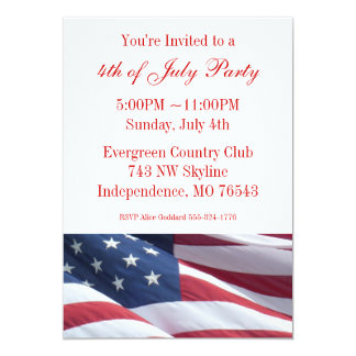 "July Fourth or Election Campaign Party Invitations 5"" X 7"" Invitation Card"