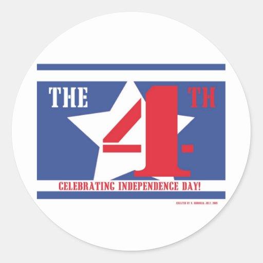 July Fourth Round Stickers