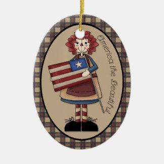 "July Raggedy Ann ""America the Beautiful"" Ornament"