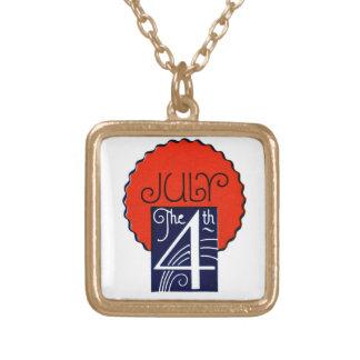 July the 4th mod retro patriotic Independence Day Gold Plated Necklace
