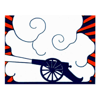 July the 4th vintage cannon artillery patriotic postcard