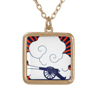 July the 4th vintage cannon artillery patriotic square pendant necklace