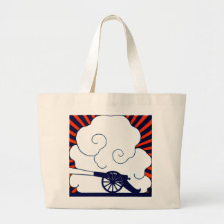 July the 4th vintage cannon artillery patriotic jumbo tote bag