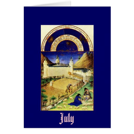 July, the Tres Riches Heures du Duc de Berry Greeting Card