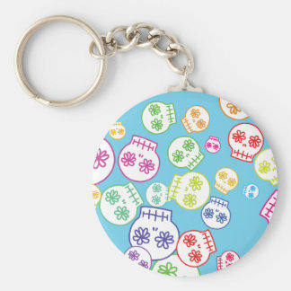 Jumble of Sugar Skulls Basic Round Button Key Ring