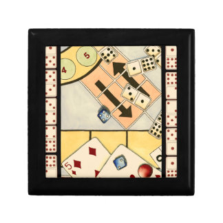 Jumbled Assortment of Games of Chance Small Square Gift Box