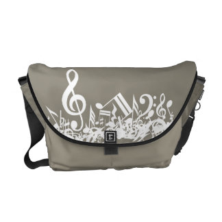 Jumbled Musical Notes Beige and White Commuter Bag