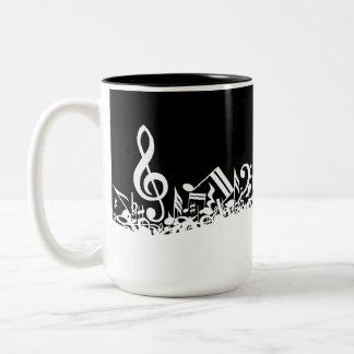 Jumbled Musical Notes Black and White Mugs