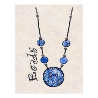Jumbo Bead Necklace   Blue-004 Post Card