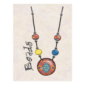 Jumbo Bead Necklace Multicolor    6 Post Cards