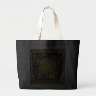 Jumbo Black Tote Bag with Vintage Pumpkin Ad