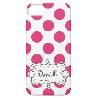 Jumbo PINK PolkaDots Personalized Lady iPhone 5 Covers