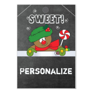Jumbo Size Gingerbread Gift Tag 9 Cm X 13 Cm Invitation Card