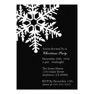 Jumbo Snowflake Christmas Party Invitation Black