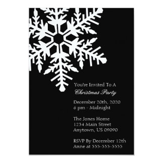 "Jumbo Snowflake Christmas Party Invitation (Black) 5"" X 7"" Invitation Card"