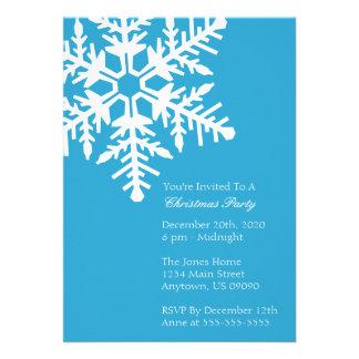 Jumbo Snowflake Christmas Party Invitation Blue