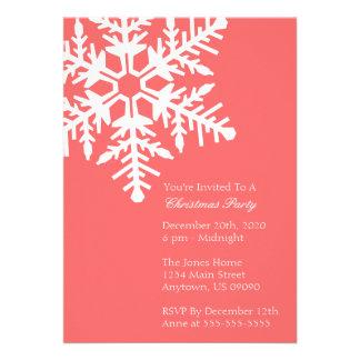Jumbo Snowflake Christmas Party Invitation Coral