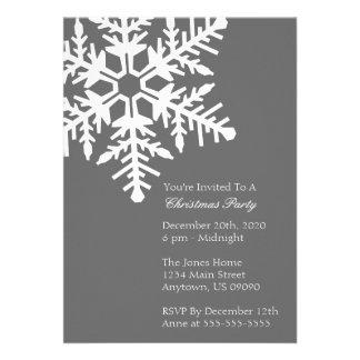 Jumbo Snowflake Christmas Party Invitation Gray
