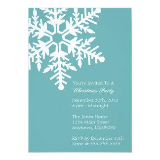"Jumbo Snowflake Christmas Party Invitation Green 5"" X 7"" Invitation Card"