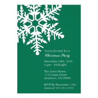 Jumbo Snowflake Christmas Party Invitation Green