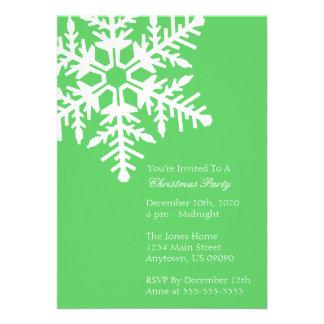 Jumbo Snowflake Christmas Party Invitation Lime