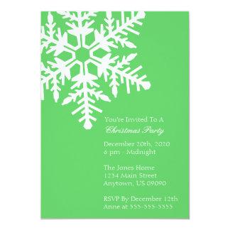 "Jumbo Snowflake Christmas Party Invitation (Lime) 5"" X 7"" Invitation Card"