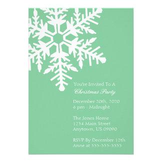 Jumbo Snowflake Christmas Party Invitation Mint