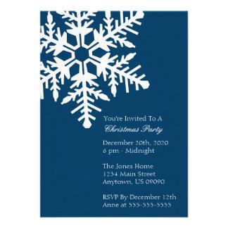 Jumbo Snowflake Christmas Party Invitation Navy